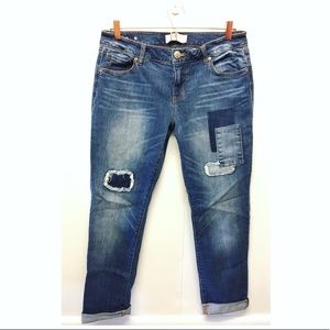 CAbi | Slim Boyfriend Jeans Distressed & Patchwork